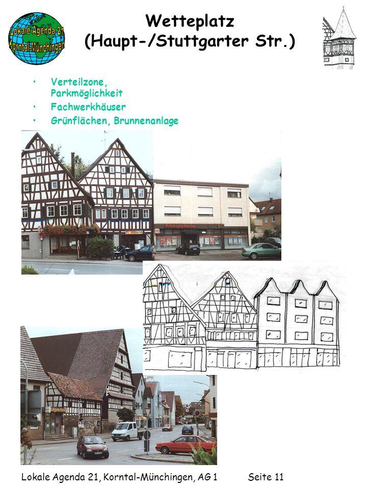Lokale Agenda 21, Korntal-Münchingen, AG 1 Seite 11 Wetteplatz (Haupt-/Stuttgarter Str.) Verteilzone, Parkmöglichkeit Fachwerkhäuser Grünflächen, Brunnenanlage
