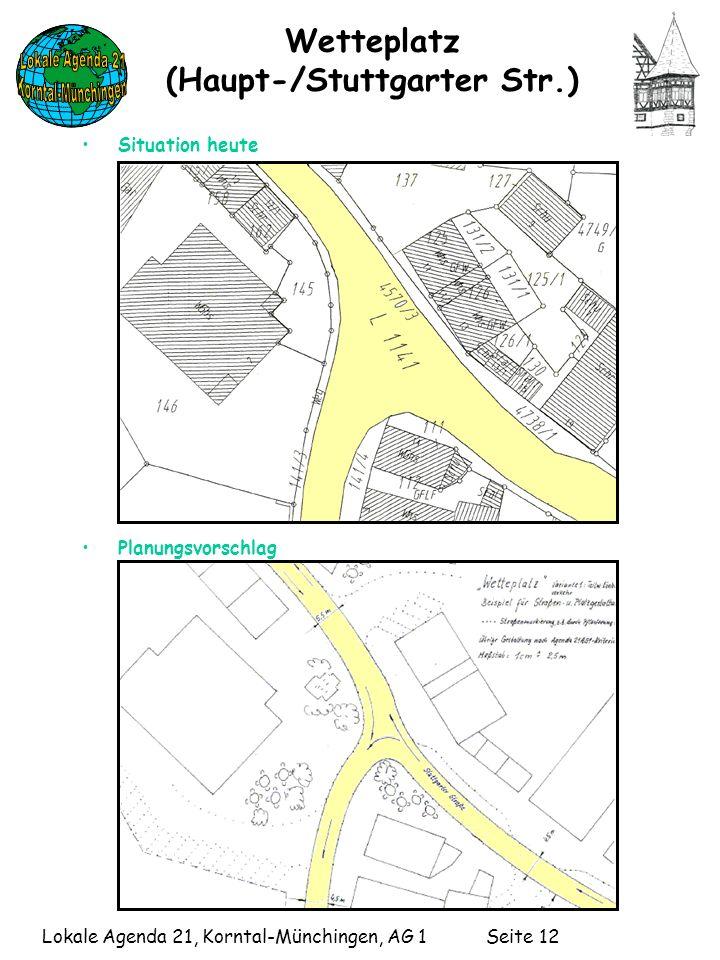 Lokale Agenda 21, Korntal-Münchingen, AG 1 Seite 12 Wetteplatz (Haupt-/Stuttgarter Str.) Situation heute Planungsvorschlag