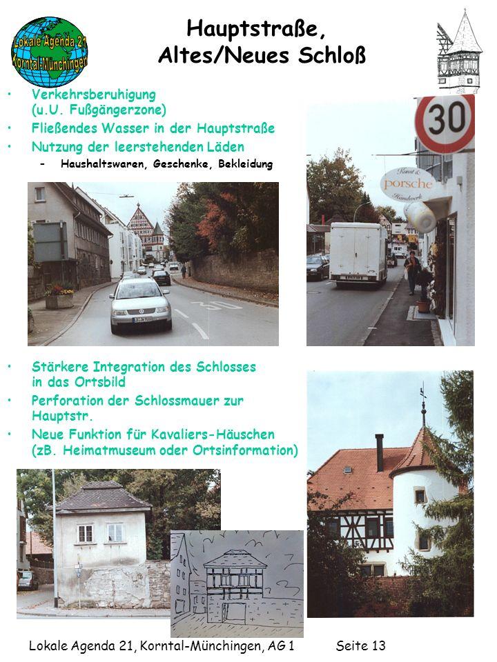 Lokale Agenda 21, Korntal-Münchingen, AG 1 Seite 13 Hauptstraße, Altes/Neues Schloß Verkehrsberuhigung (u.U.
