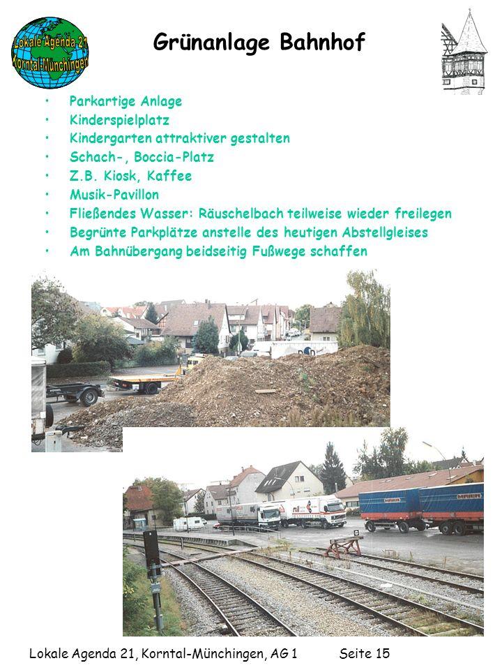 Lokale Agenda 21, Korntal-Münchingen, AG 1 Seite 15 Grünanlage Bahnhof Parkartige Anlage Kinderspielplatz Kindergarten attraktiver gestalten Schach-, Boccia-Platz Z.B.