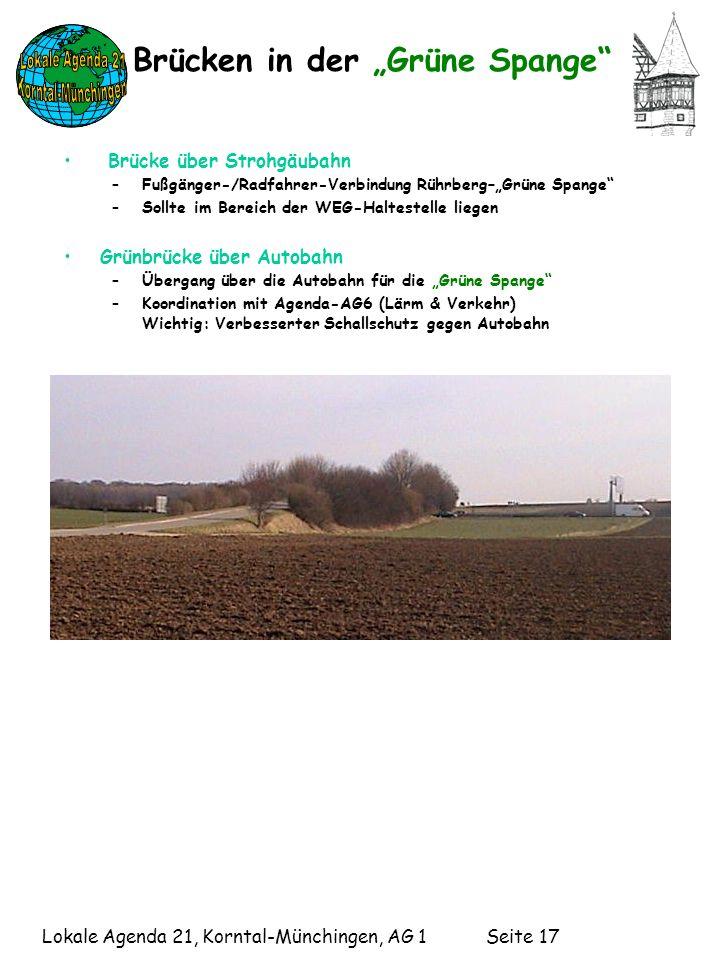 Lokale Agenda 21, Korntal-Münchingen, AG 1 Seite 17 Brücken in der Grüne Spange Brücke über Strohgäubahn –Fußgänger-/Radfahrer-Verbindung Rührberg–Grüne Spange –Sollte im Bereich der WEG-Haltestelle liegen Grünbrücke über Autobahn –Übergang über die Autobahn für die Grüne Spange –Koordination mit Agenda-AG6 (Lärm & Verkehr) Wichtig: Verbesserter Schallschutz gegen Autobahn