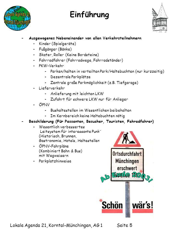 Lokale Agenda 21, Korntal-Münchingen, AG 1 Seite 5 Einführung –Ausgewogenes Nebeneinander von allen Verkehrsteilnehmern -Kinder (Spielgeräte) -Fußgänger (Bänke) -Skater, Roller (Keine Bordsteine) -Fahrradfahrer (Fahrradwege, Fahrradständer) -PKW-Verkehr -Parken/halten in verteilten Park/Haltebuchten (nur kurzzeitig) -Dezentrale Parkplätze -Zentrale große Parkmöglichkeit (z.B.