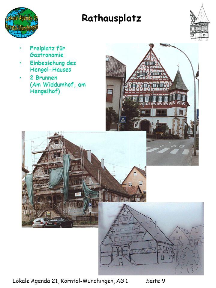 Lokale Agenda 21, Korntal-Münchingen, AG 1 Seite 9 Rathausplatz Freiplatz für Gastronomie Einbeziehung des Hengel-Hauses 2 Brunnen (Am Widdumhof, am Hengelhof)