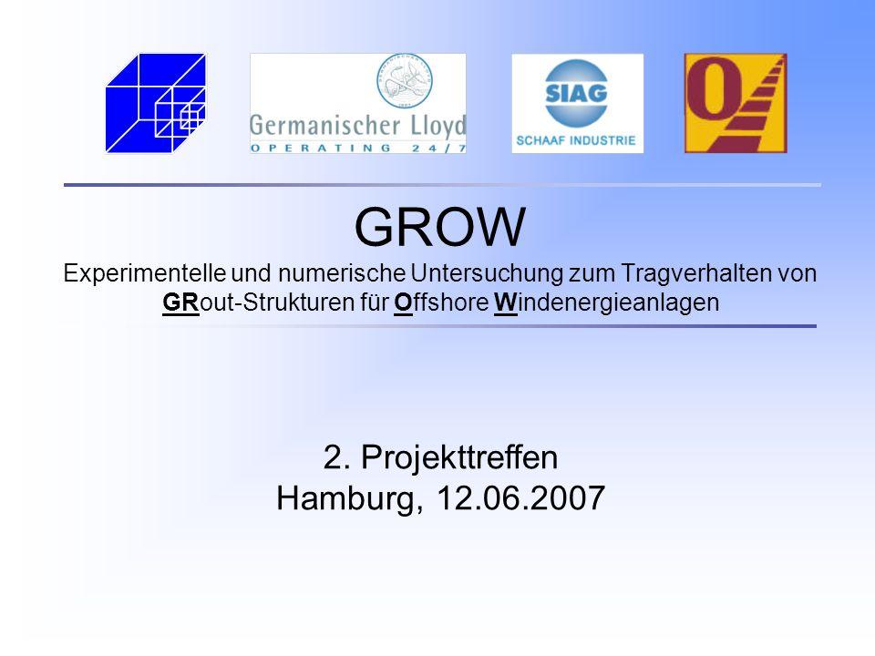 GROW Experimentelle und numerische Untersuchung zum Tragverhalten von GRout-Strukturen für Offshore Windenergieanlagen 2. Projekttreffen Hamburg, 12.0