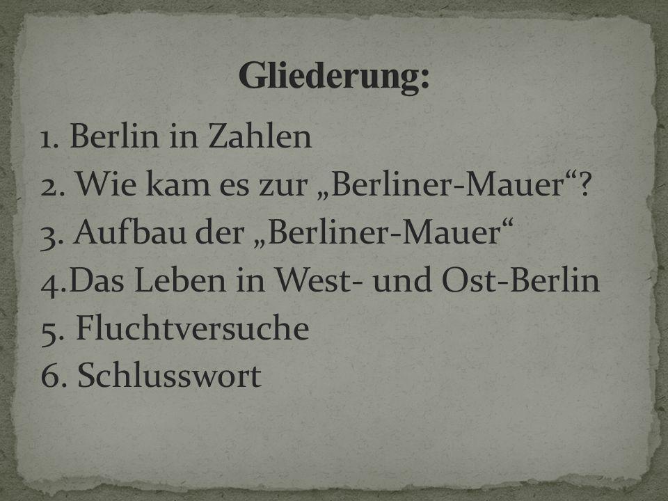 1. Berlin in Zahlen 2. Wie kam es zur Berliner-Mauer? 3. Aufbau der Berliner-Mauer 4.Das Leben in West- und Ost-Berlin 5. Fluchtversuche 6. Schlusswor