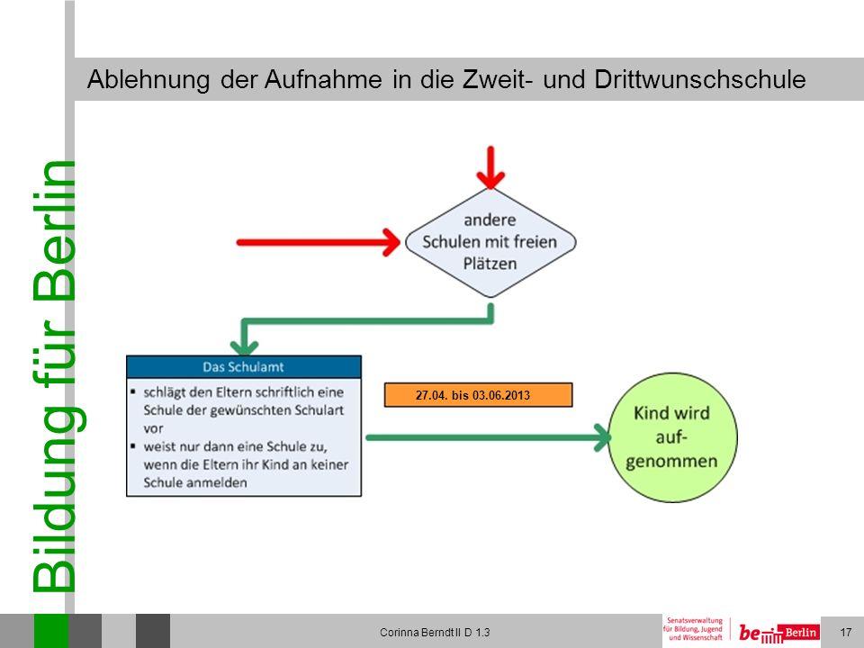 Bildung für Berlin Corinna Berndt II D 1.317 Ablehnung der Aufnahme in die Zweit- und Drittwunschschule 27.04. bis 03.06.2013