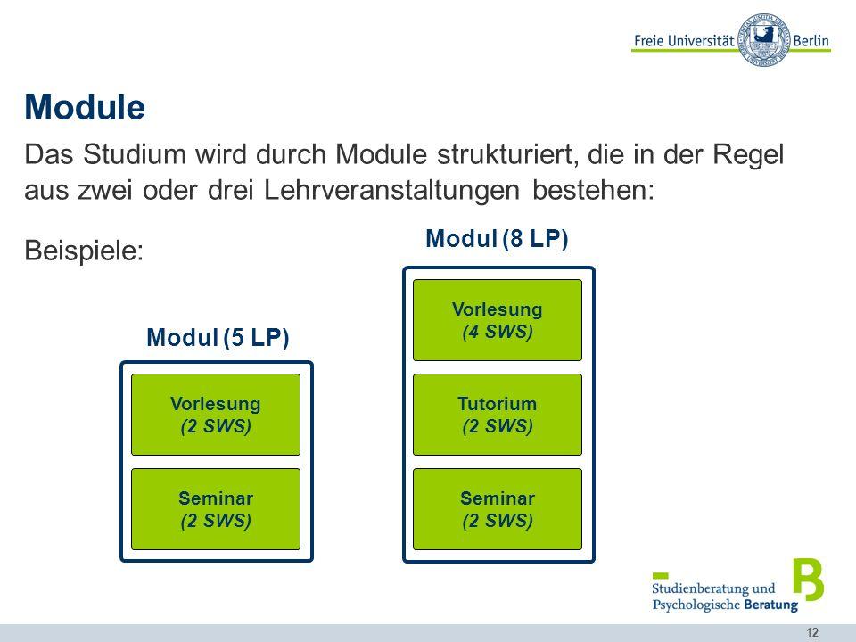 12 Module Das Studium wird durch Module strukturiert, die in der Regel aus zwei oder drei Lehrveranstaltungen bestehen: Beispiele: Vorlesung (2 SWS) Seminar (2 SWS) Modul (5 LP) Vorlesung (4 SWS) Tutorium (2 SWS) Modul (8 LP) Seminar (2 SWS)