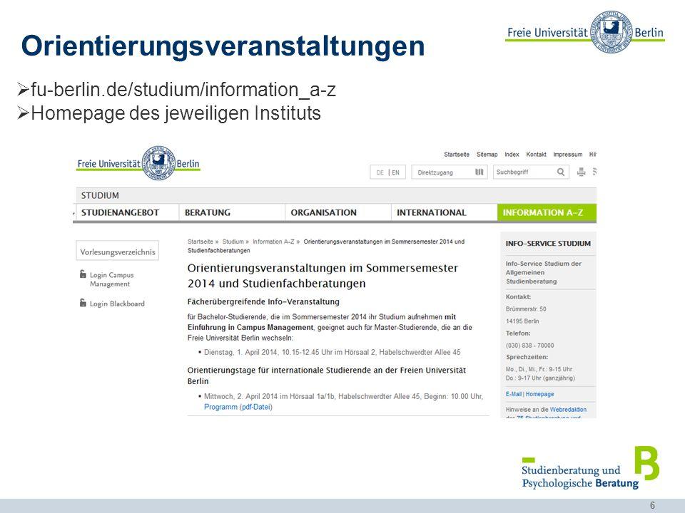 17 Studienverlaufsplan Studienordnung Homepage des Instituts Exemplarischer Studienverlaufsplan: Informatik (Bachelor)