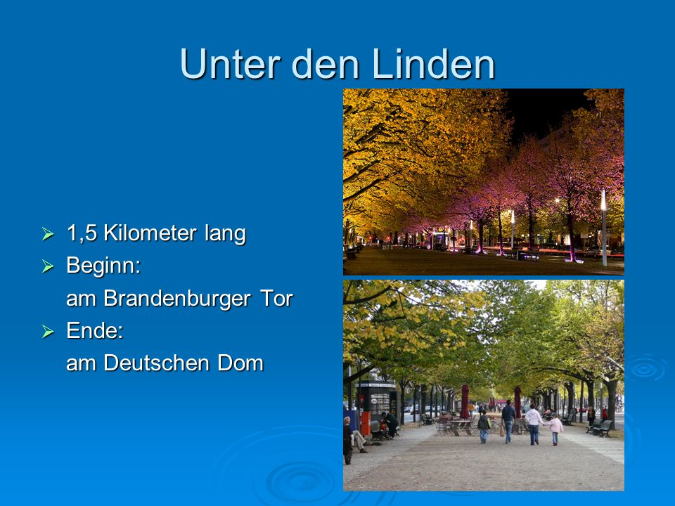 1,5 Kilometer lang 1,5 Kilometer lang Beginn: Beginn: am Brandenburger Tor Ende: Ende: am Deutschen Dom
