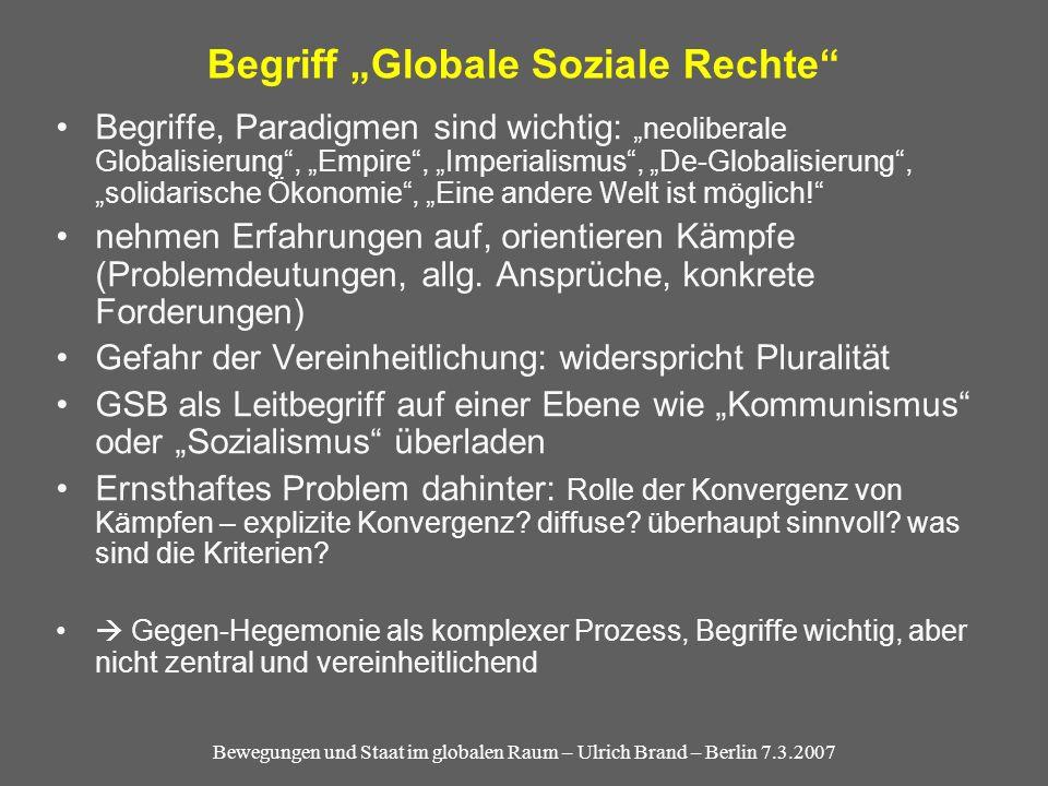 Bewegungen und Staat im globalen Raum – Ulrich Brand – Berlin 7.3.2007 Begriff Globale Soziale Rechte Begriffe, Paradigmen sind wichtig: neoliberale Globalisierung, Empire, Imperialismus, De-Globalisierung, solidarische Ökonomie, Eine andere Welt ist möglich.