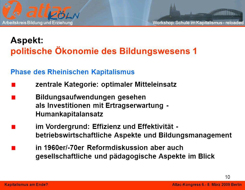 10 Kapitalismus am Ende? Attac-Kongress 6.- 8. März 2009 Berlin Aspekt: politische Ökonomie des Bildungswesens 1 Phase des Rheinischen Kapitalismus ze