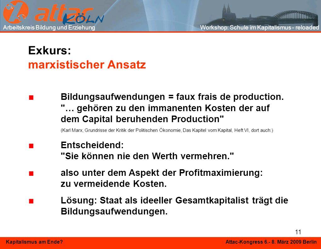 11 Kapitalismus am Ende? Attac-Kongress 6.- 8. März 2009 Berlin Exkurs: marxistischer Ansatz Bildungsaufwendungen = faux frais de production.