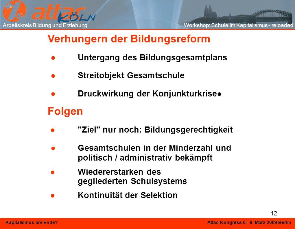 12 Kapitalismus am Ende? Attac-Kongress 6.- 8. März 2009 Berlin Verhungern der Bildungsreform Untergang des Bildungsgesamtplans Streitobjekt Gesamtsch