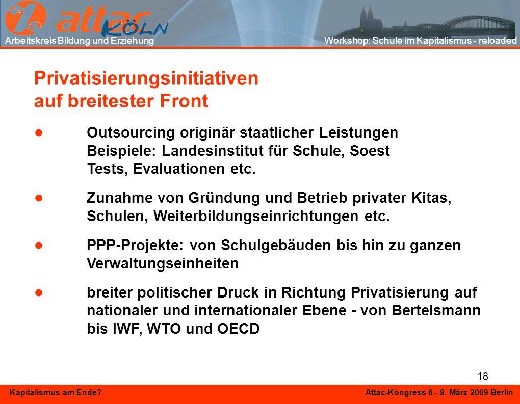 18 Kapitalismus am Ende? Attac-Kongress 6.- 8. März 2009 Berlin Privatisierungsinitiativen auf breitester Front Outsourcing originär staatlicher Leist