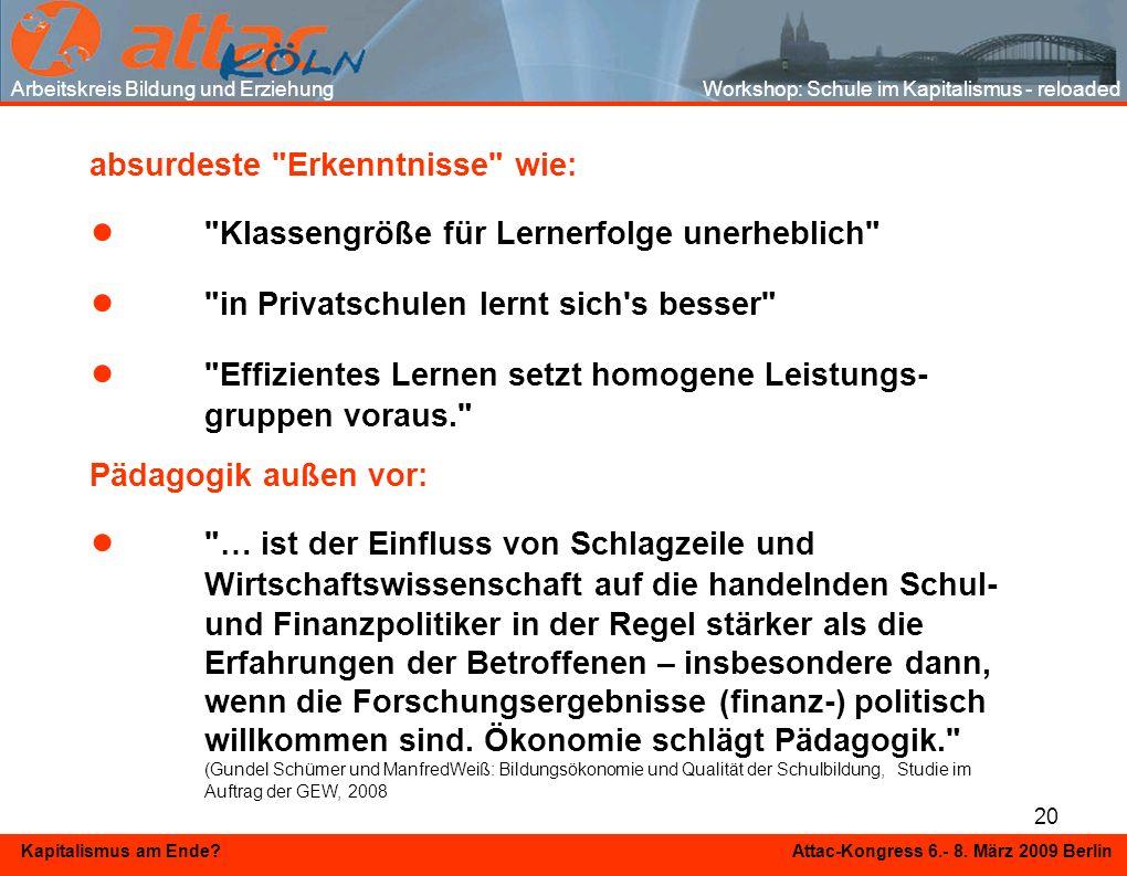 20 Kapitalismus am Ende? Attac-Kongress 6.- 8. März 2009 Berlin absurdeste