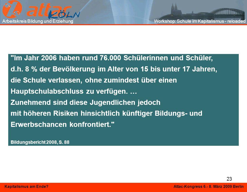 23 Kapitalismus am Ende? Attac-Kongress 6.- 8. März 2009 Berlin Arbeitskreis Bildung und Erziehung Workshop: Schule im Kapitalismus - reloaded