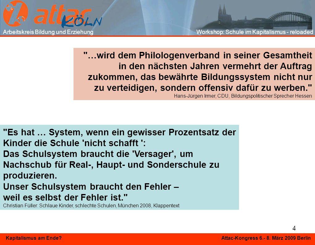 4 Kapitalismus am Ende? Attac-Kongress 6.- 8. März 2009 Berlin