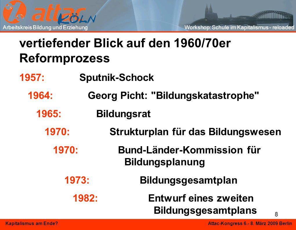 8 Kapitalismus am Ende? Attac-Kongress 6.- 8. März 2009 Berlin vertiefender Blick auf den 1960/70er Reformprozess 1957:Sputnik-Schock 1964: Georg Pich