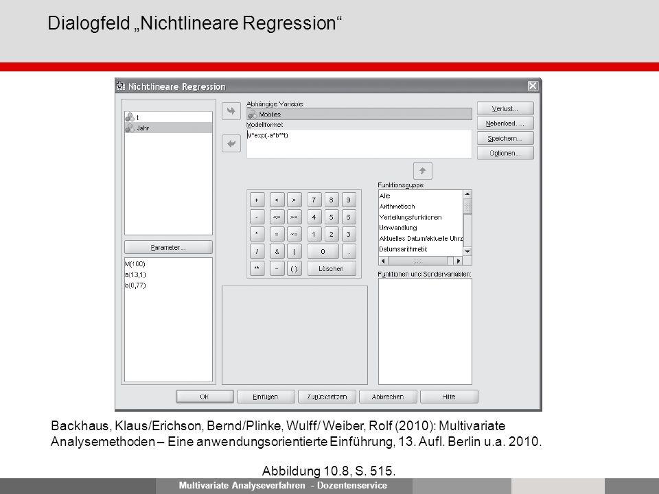 Multivariate Analyseverfahren - Dozentenservice Dialogfeld Nichtlineare Regression Abbildung 10.8, S. 515. Backhaus, Klaus/Erichson, Bernd/Plinke, Wul