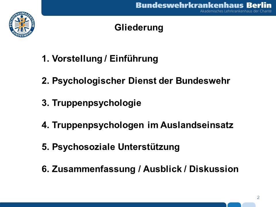 2 Gliederung 1.Vorstellung / Einführung 2.Psychologischer Dienst der Bundeswehr 3.Truppenpsychologie 4.Truppenpsychologen im Auslandseinsatz 5.Psychos