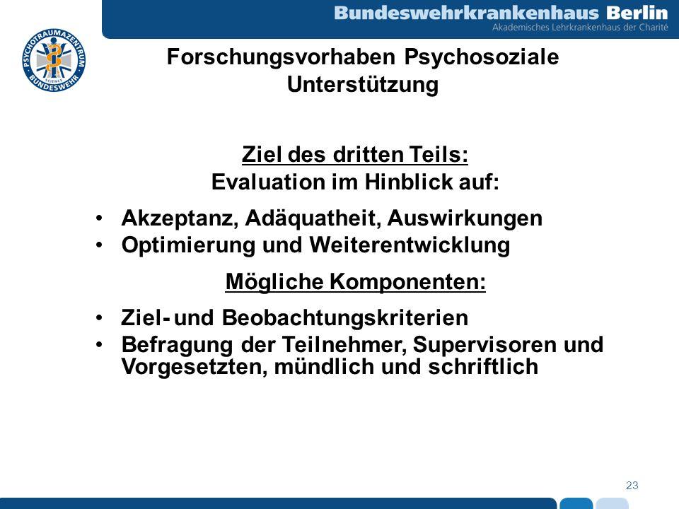 23 Forschungsvorhaben Psychosoziale Unterstützung Ziel des dritten Teils: Evaluation im Hinblick auf: Akzeptanz, Adäquatheit, Auswirkungen Optimierung