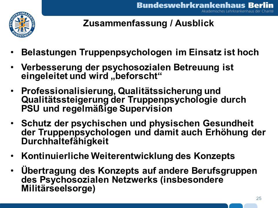25 Zusammenfassung / Ausblick Belastungen Truppenpsychologen im Einsatz ist hoch Verbesserung der psychosozialen Betreuung ist eingeleitet und wird be