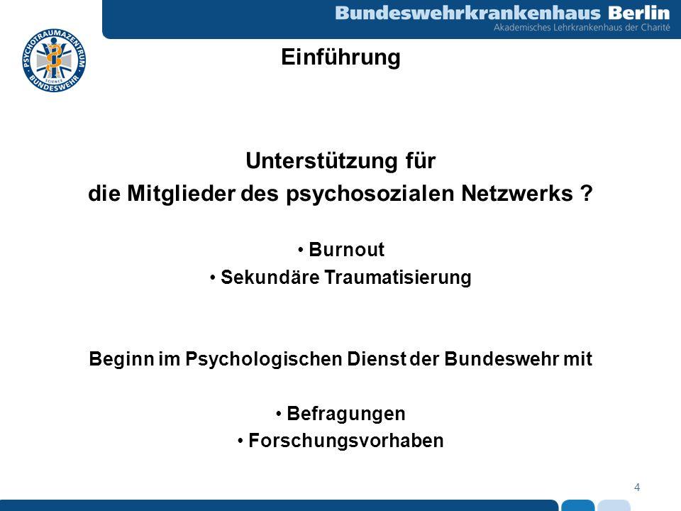 4 Unterstützung für die Mitglieder des psychosozialen Netzwerks ? Burnout Sekundäre Traumatisierung Beginn im Psychologischen Dienst der Bundeswehr mi