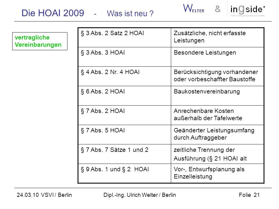 Die HOAI 2009 - Was ist neu ? Folie 21 24.03.10 VSVI / Berlin Dipl.-Ing. Ulrich Welter / Berlin § 3 Abs. 2 Satz 2 HOAIZusätzliche, nicht erfasste Leis