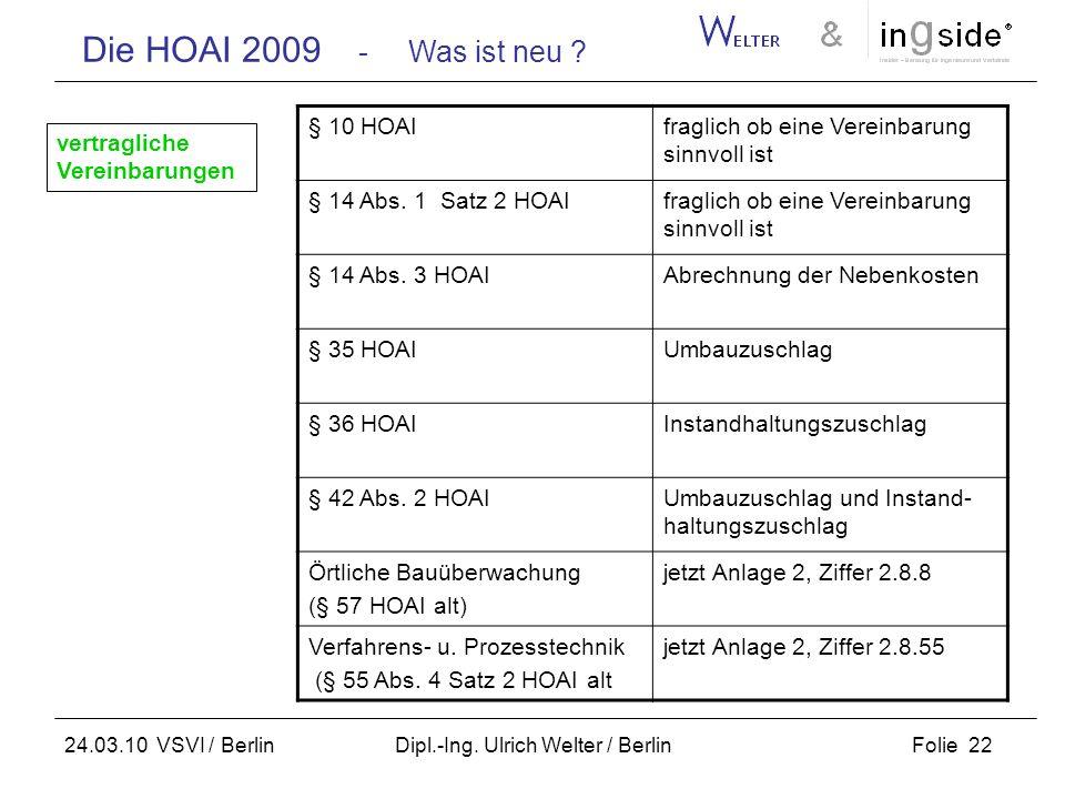 Die HOAI 2009 - Was ist neu ? Folie 22 24.03.10 VSVI / Berlin Dipl.-Ing. Ulrich Welter / Berlin § 10 HOAIfraglich ob eine Vereinbarung sinnvoll ist §