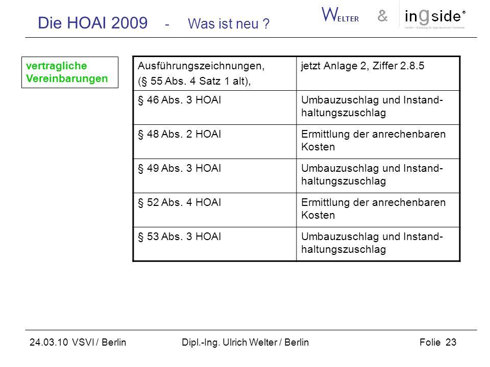 Die HOAI 2009 - Was ist neu ? Folie 23 24.03.10 VSVI / Berlin Dipl.-Ing. Ulrich Welter / Berlin Ausführungszeichnungen, (§ 55 Abs. 4 Satz 1 alt), jetz
