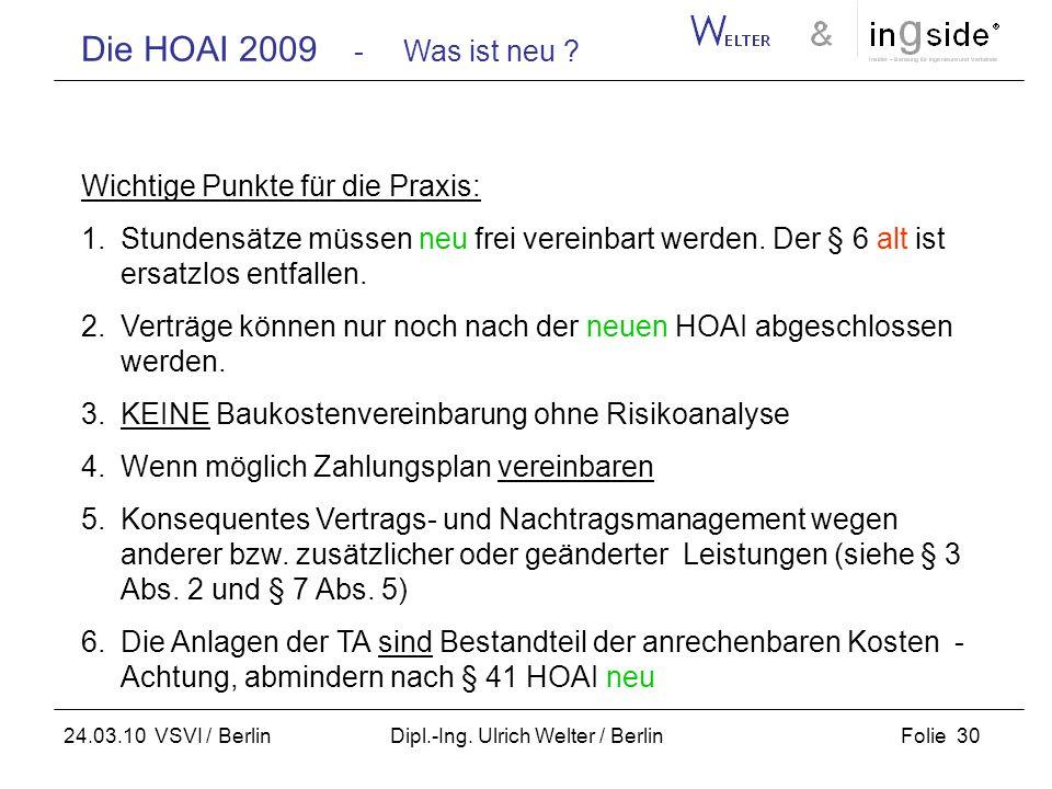 Die HOAI 2009 - Was ist neu ? Folie 30 24.03.10 VSVI / Berlin Dipl.-Ing. Ulrich Welter / Berlin Wichtige Punkte für die Praxis: 1.Stundensätze müssen