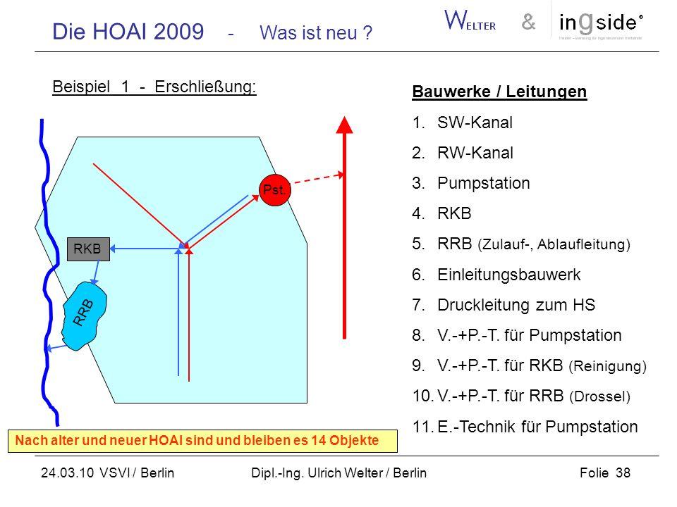 Die HOAI 2009 - Was ist neu ? Folie 38 24.03.10 VSVI / Berlin Dipl.-Ing. Ulrich Welter / Berlin Beispiel 1 - Erschließung: RKB RRB Pst. Bauwerke / Lei