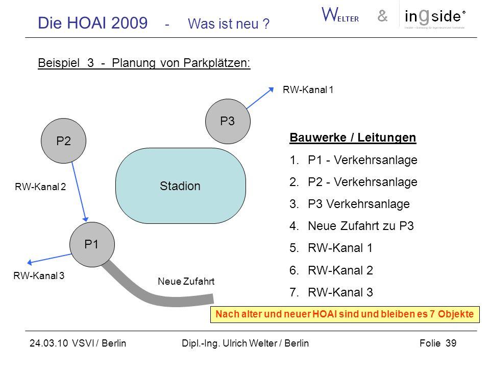Die HOAI 2009 - Was ist neu ? Folie 39 24.03.10 VSVI / Berlin Dipl.-Ing. Ulrich Welter / Berlin Beispiel 3 - Planung von Parkplätzen: Stadion P2 P1 P3