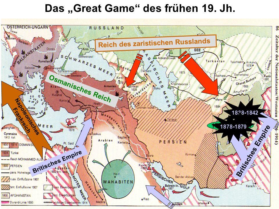 Reich des zaristischen Russlands Osmanisches Reich Das Great Game des frühen 19. Jh. 1747 Königreich Britisches Empire 1838-1842 1878-1879 Napoleonisc
