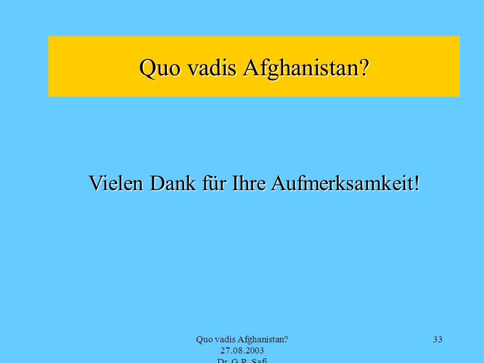 Quo vadis Afghanistan? 27.08.2003 Dr. G.R. Safi 33 Quo vadis Afghanistan? Vielen Dank für Ihre Aufmerksamkeit!