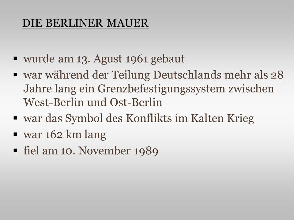 wurde am 13. Agust 1961 gebaut war während der Teilung Deutschlands mehr als 28 Jahre lang ein Grenzbefestigungssystem zwischen West-Berlin und Ost-Be