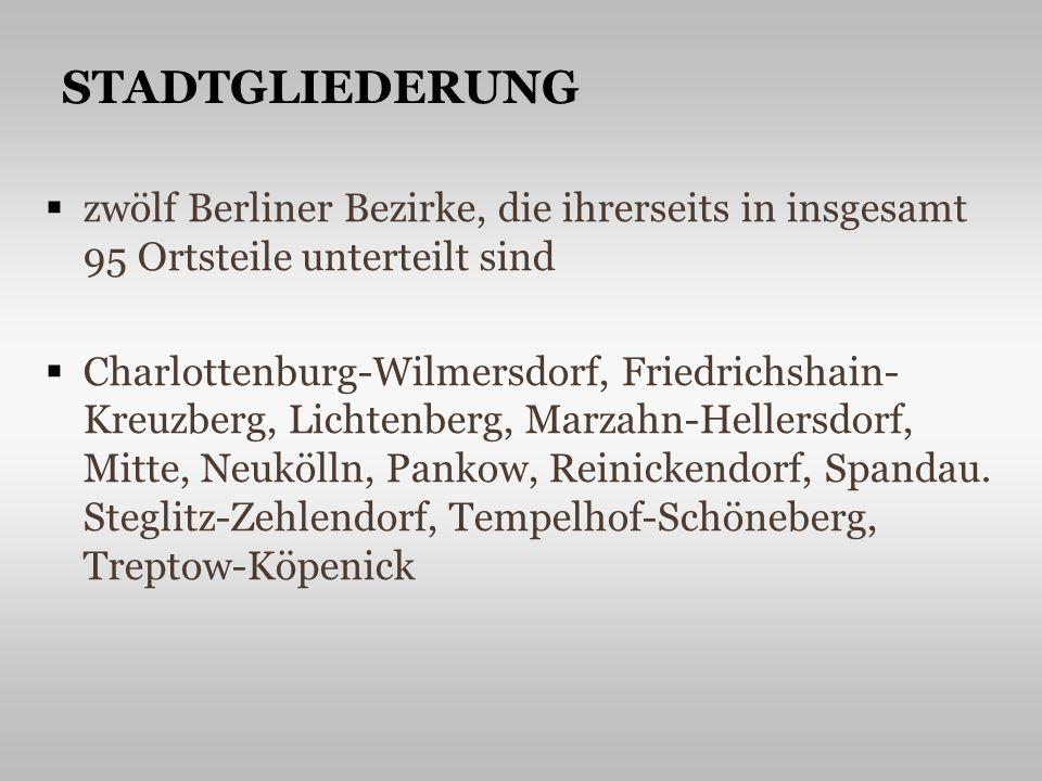 zwölf Berliner Bezirke, die ihrerseits in insgesamt 95 Ortsteile unterteilt sind Charlottenburg-Wilmersdorf, Friedrichshain- Kreuzberg, Lichtenberg, Marzahn-Hellersdorf, Mitte, Neukölln, Pankow, Reinickendorf, Spandau.