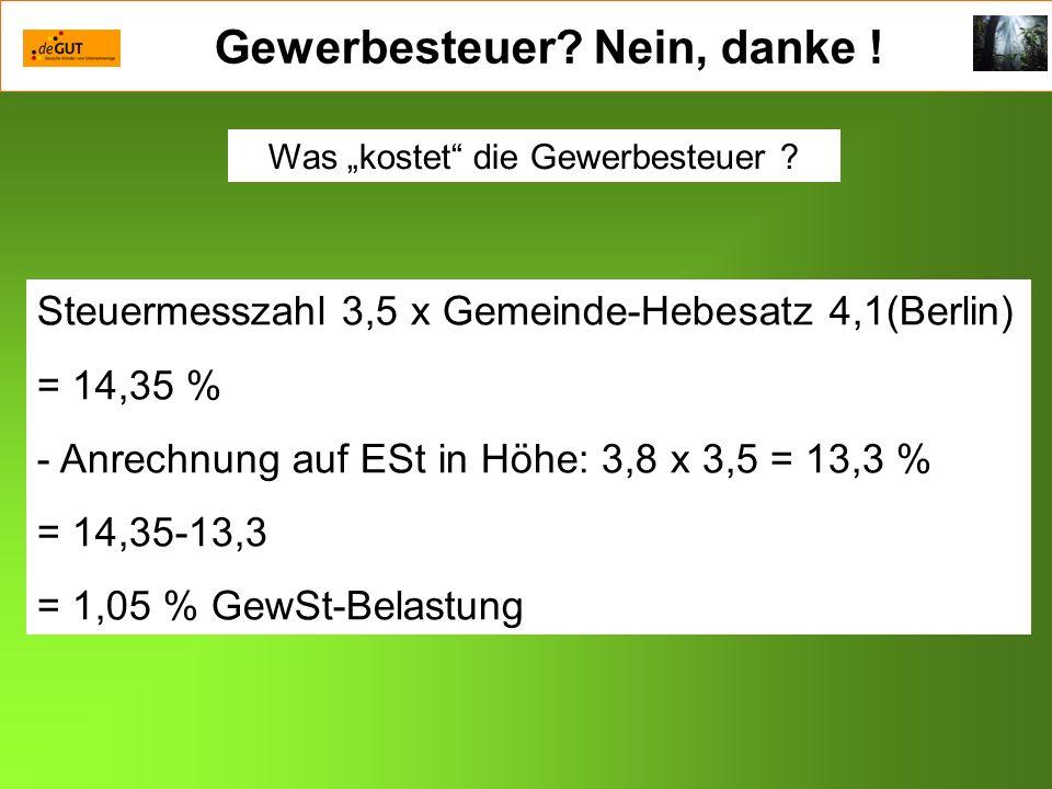 Gewerbesteuer? Nein, danke ! Steuermesszahl 3,5 x Gemeinde-Hebesatz 4,1(Berlin) = 14,35 % - Anrechnung auf ESt in Höhe: 3,8 x 3,5 = 13,3 % = 14,35-13,