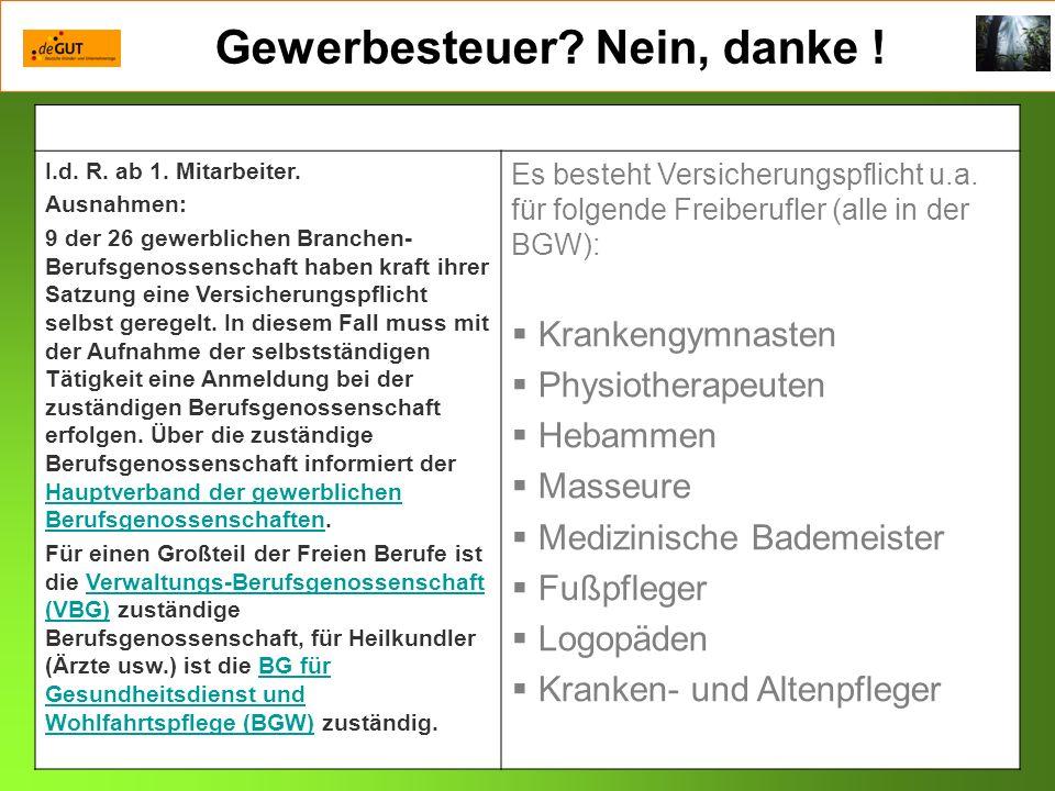 Gewerbesteuer.Nein, danke . Privat: KV – RV, bisher erworbene Anwartschaften.