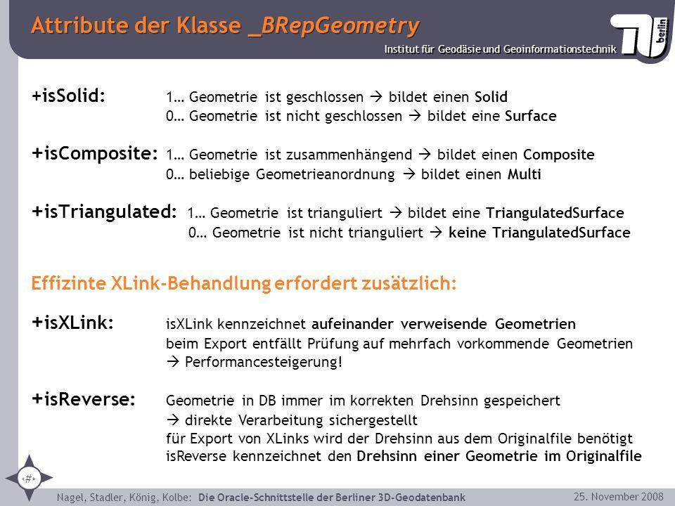 16 Institut für Geodäsie und Geoinformationstechnik Nagel, Stadler, König, Kolbe: Die Oracle-Schnittstelle der Berliner 3D-Geodatenbank 25. November 2