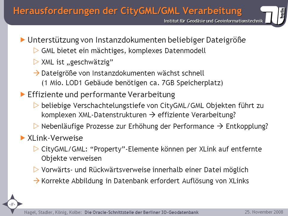 25 Institut für Geodäsie und Geoinformationstechnik Nagel, Stadler, König, Kolbe: Die Oracle-Schnittstelle der Berliner 3D-Geodatenbank 25. November 2