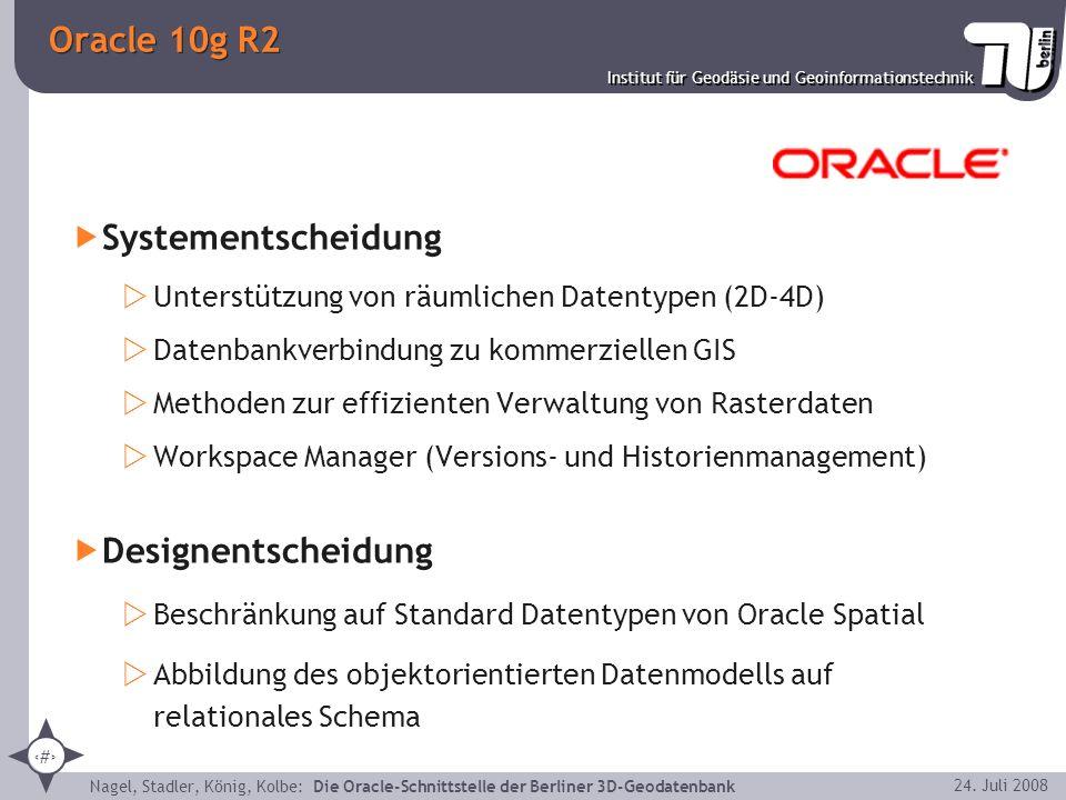 3 Institut für Geodäsie und Geoinformationstechnik Nagel, Stadler, König, Kolbe: Die Oracle-Schnittstelle der Berliner 3D-Geodatenbank 24. Juli 2008 O
