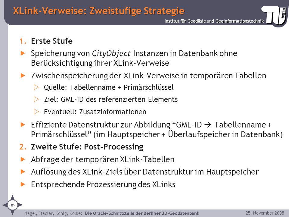30 Institut für Geodäsie und Geoinformationstechnik Nagel, Stadler, König, Kolbe: Die Oracle-Schnittstelle der Berliner 3D-Geodatenbank 25. November 2