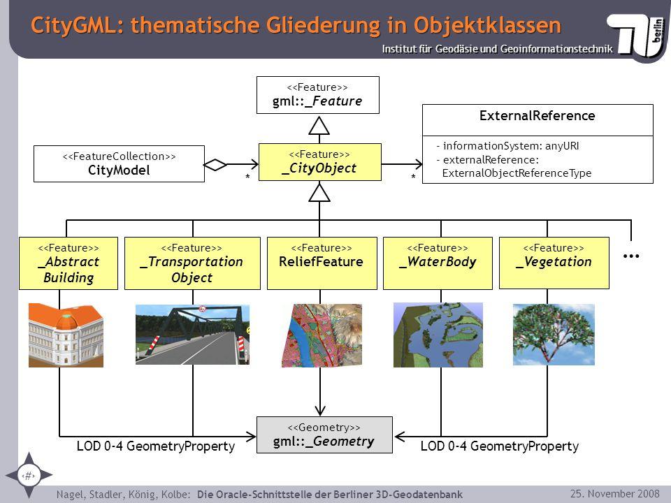 6 Institut für Geodäsie und Geoinformationstechnik Nagel, Stadler, König, Kolbe: Die Oracle-Schnittstelle der Berliner 3D-Geodatenbank 25. November 20