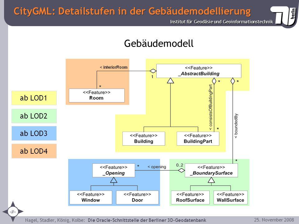 7 Institut für Geodäsie und Geoinformationstechnik Nagel, Stadler, König, Kolbe: Die Oracle-Schnittstelle der Berliner 3D-Geodatenbank 25. November 20