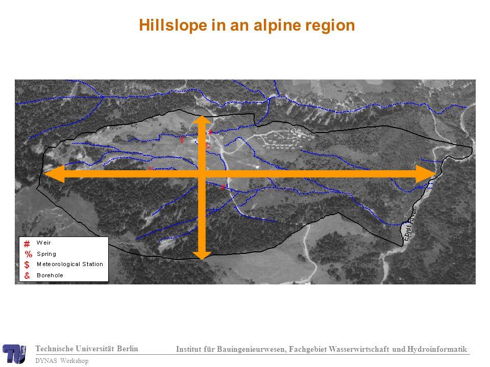 Technische Universität Berlin Institut für Bauingenieurwesen, Fachgebiet Wasserwirtschaft und Hydroinformatik DYNAS Workshop Hillslope in an alpine region