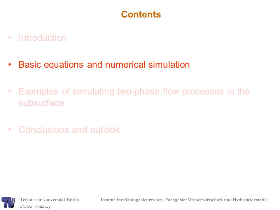 Technische Universität Berlin Institut für Bauingenieurwesen, Fachgebiet Wasserwirtschaft und Hydroinformatik DYNAS Workshop Contents Introduction Basic equations and numerical simulation Examples of simulating two-phase flow processes in the subsurface Conclusions and outlook