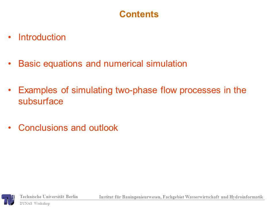 Technische Universität Berlin Institut für Bauingenieurwesen, Fachgebiet Wasserwirtschaft und Hydroinformatik DYNAS Workshop Water saturation: system with fracture (b=1cm) Pham Van (2004)