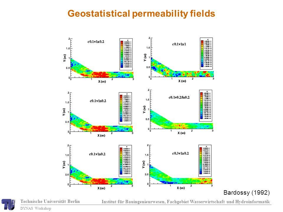 Technische Universität Berlin Institut für Bauingenieurwesen, Fachgebiet Wasserwirtschaft und Hydroinformatik DYNAS Workshop Geostatistical permeability fields Bardossy (1992)