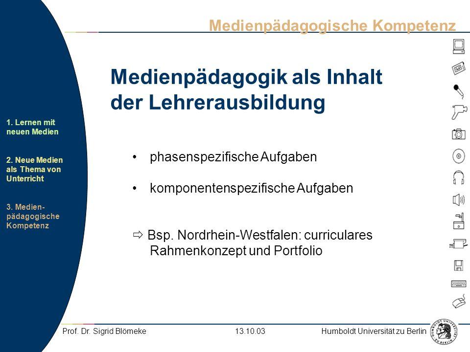 Humboldt Universität zu Berlin 1. Lernen mit neuen Medien 2. Neue Medien als Thema von Unterricht 3. Medien- pädagogische Kompetenz 13.10.03Prof. Dr.